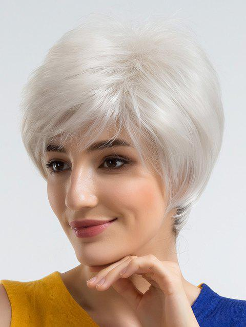 Short Side Bang Straight Party Cosplay Synthetic Wig - WHITE