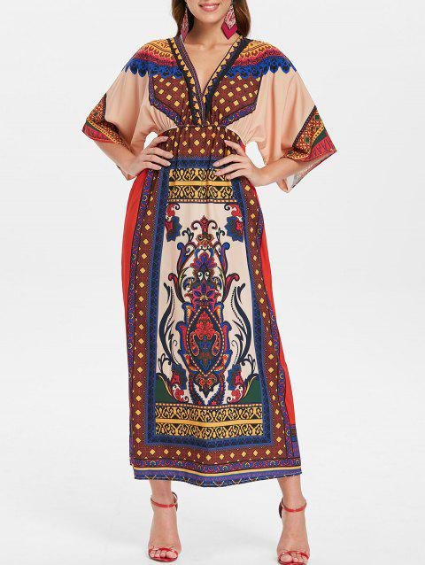 Elastic Waist Printed Bohemian Dress - FIRE ENGINE RED S