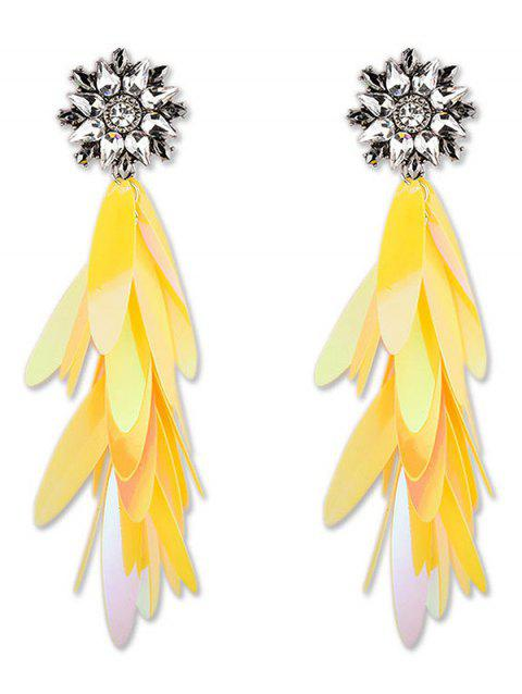 Long Paillettes Design Dangle Earrings - YELLOW