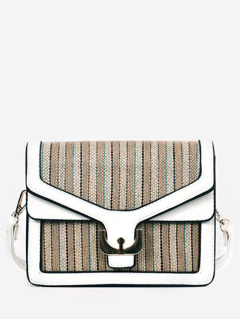 Casual Vacation Splicing Flap Sling Bag - WHITE