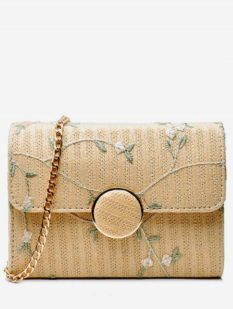 Straw Casual Floral Decorated Straw Sling Bag - LIGHT KHAKI