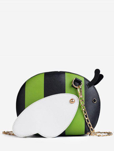 Faux Leather Chic Critters Pattern Chain Crossbody Bag - GREEN