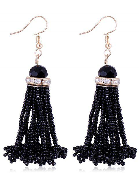 Rhinestone Beads Tassel Hanging Hook Earrings - BLACK