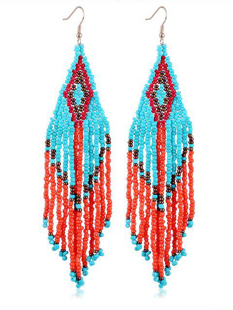 Geometric Beads Tassel Decoration Dangle Earrings - multicolor