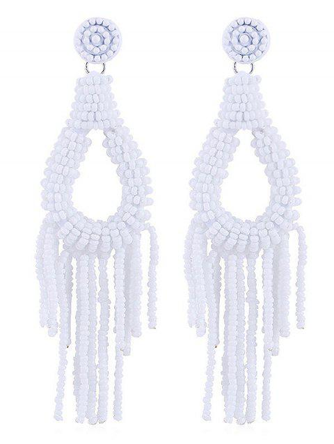 Beads Decoration Teardrop Design Tassel Earrings - WHITE