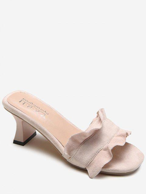 Block Heel Ruffles Embellished Mules Shoes - LIGHT PINK 39