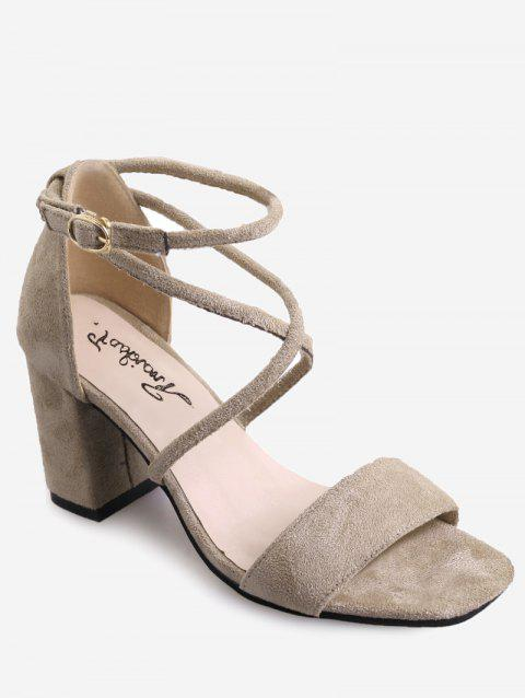Crisscross Chunky Heel Chic Ankle Strap Sandals - APRICOT 36