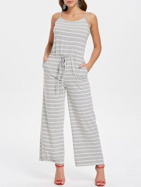 Spaghetti Strap Striped Jumpsuit - LIGHT GRAY L