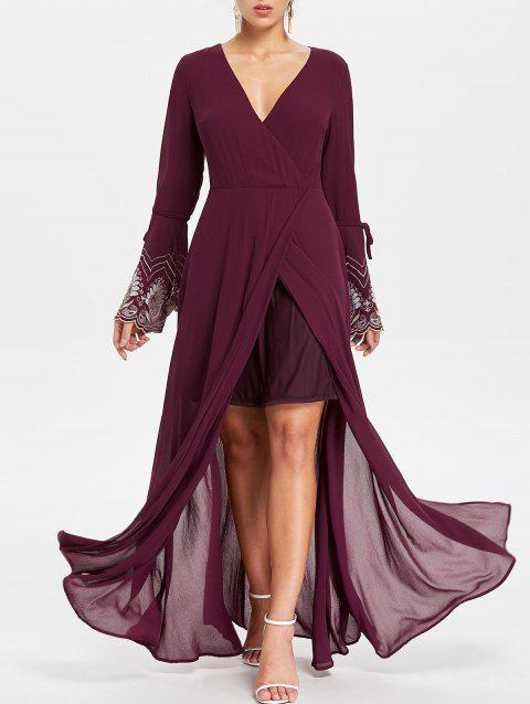 Floor Length Evening Surplice Dress - RED WINE M