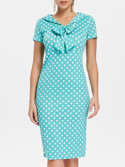 Polka Dot Knee Length Dress - BLUE GREEN 2XL