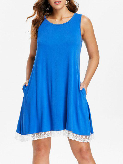 Lace Hemline Shift Dress - BLUE S