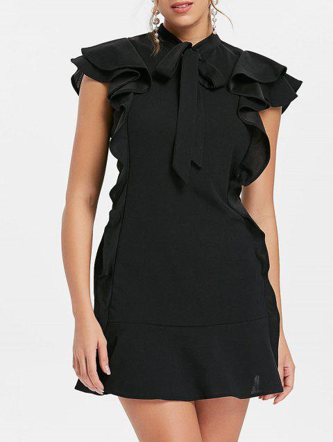 Tie Neck Ruffle Mini Sheath Dress - BLACK L