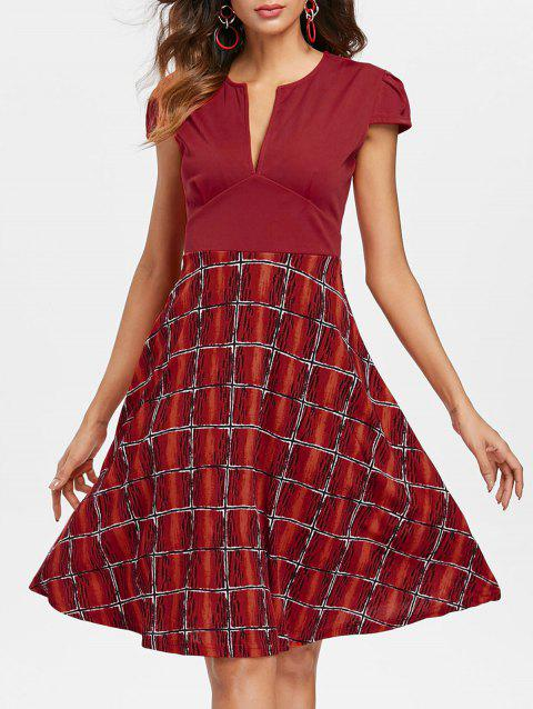 V Neck Printed Flared Dress - CHERRY RED L