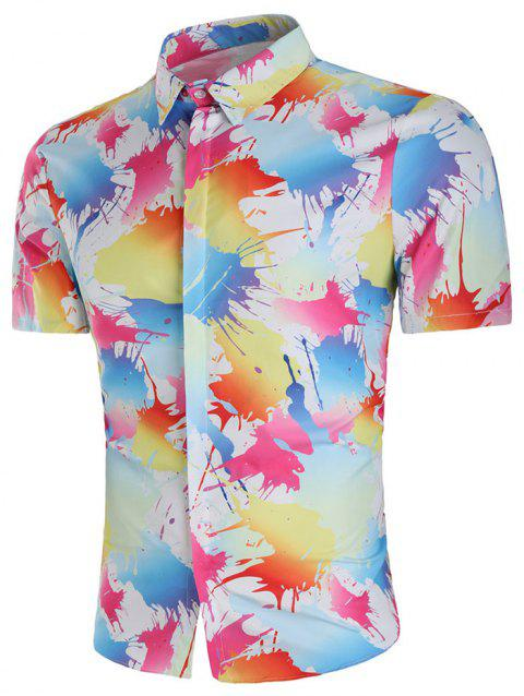 Paint Splash Print Short Sleeve Shirt - multicolor M