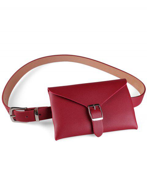 Fanny Pack Decorative Faux Leather Belt Bag - CHERRY RED