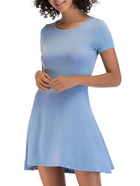 Short Sleeve Fit Casual Tunic Dress - BLUE GRAY L