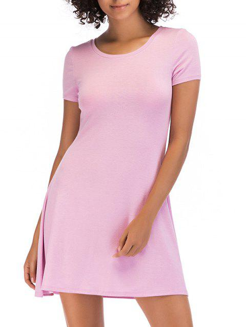 Short Sleeve Fit Casual Tunic Dress - LIGHT PINK M