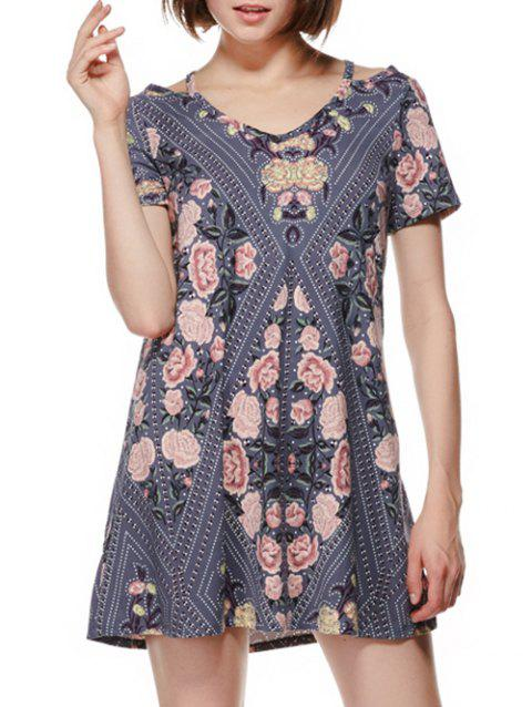 Cut Out Shoulder Flower Print Mini Dress - LIGHT SLATE GRAY M