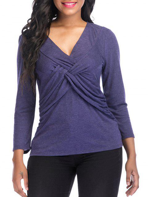 V Neck knotted Front Long Sleeve Casual Top - DARK SLATE BLUE XL