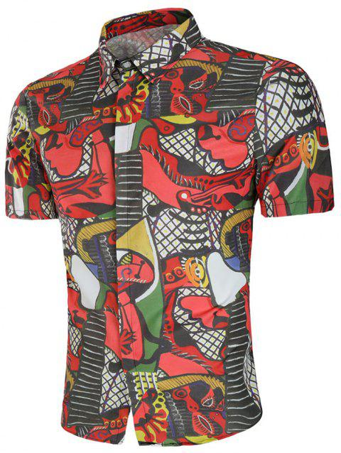 Abstract Print Slim Fit Shirt - multicolor L