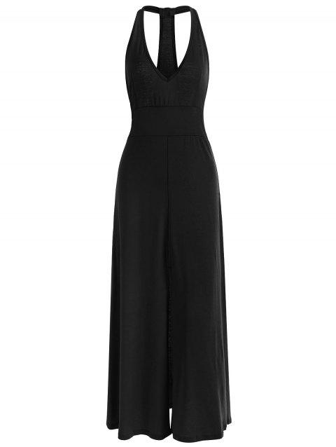 High Slit Racerback Maxi Bodycon Dress - BLACK M