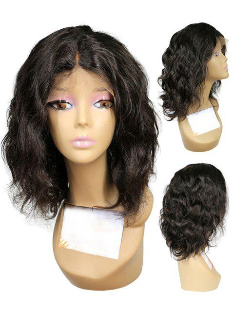 Short Center Parting Wavy Synthetic Lace Front Wig - NATURAL BLACK