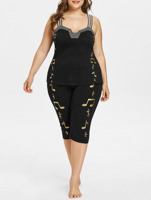 Plus Size Tank Top with Print Leggings - BLACK 5X
