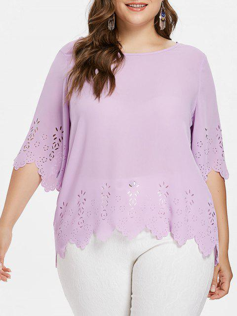 Plus Size Hollow Out Blouse - MAUVE L