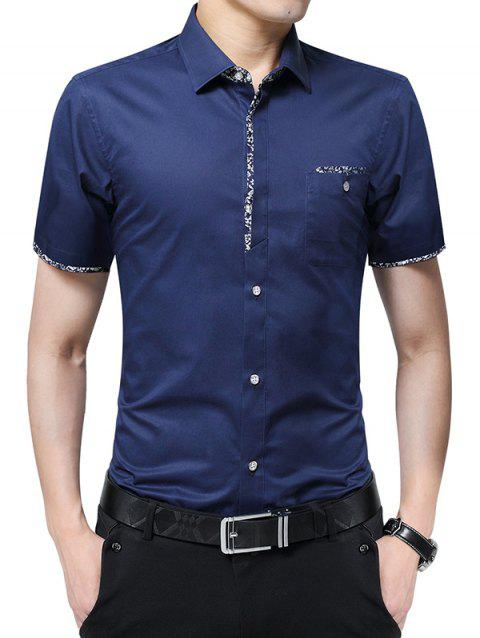 Chest Pocket Flower Panel Shirt - ROYAL BLUE L