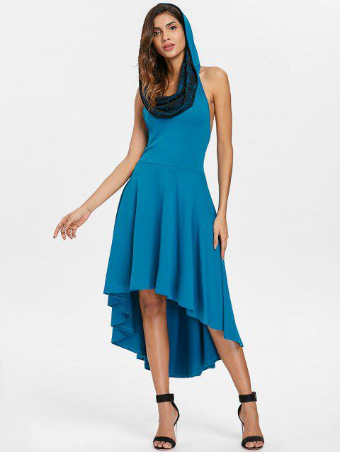 Halter Convertible Hooded High Low Dress - BLUE L