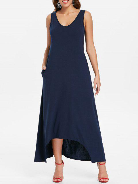 Sleeveless Crescent Hem Maxi Dress - MIDNIGHT BLUE 2XL