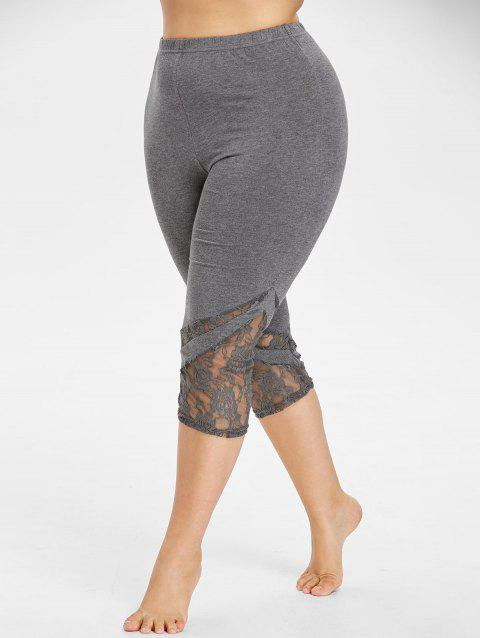 Lace Hem Plus Size Capri Skinny Pants - SMOKEY GRAY 4XL
