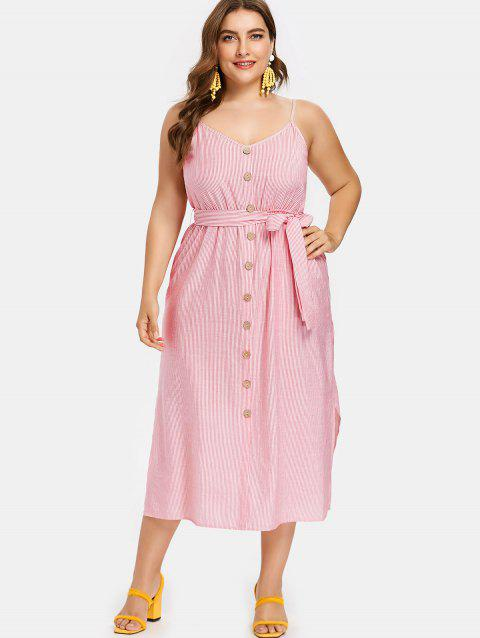 Plus Size Pinstriped Belted Slip Dress - RUBY RED 2X