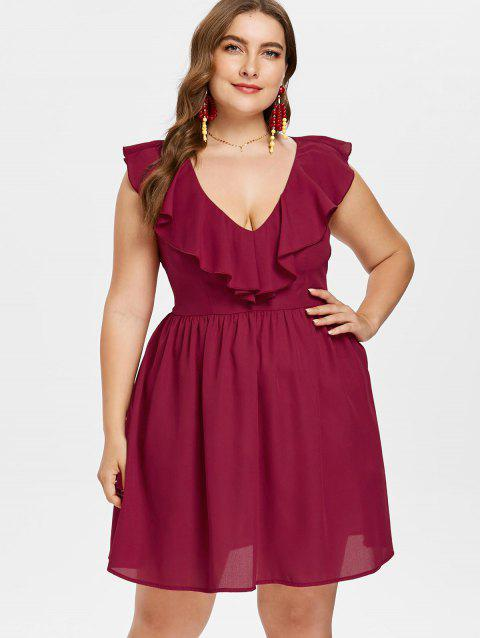 Plus Size Ruffled A Line Dress - RED WINE 2X