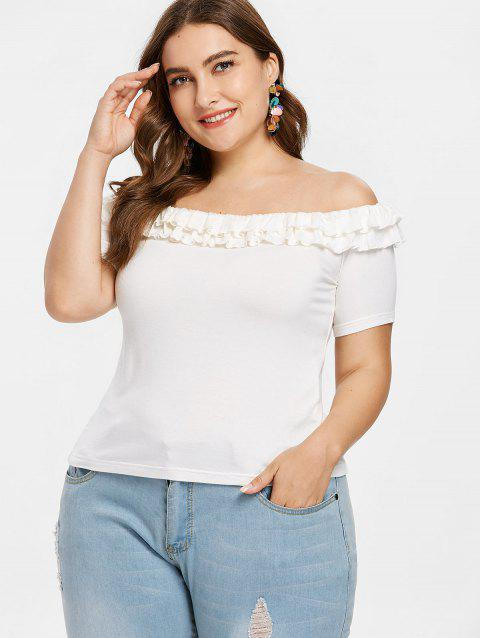 Plus Size Frills Trim Tee - WHITE 3X