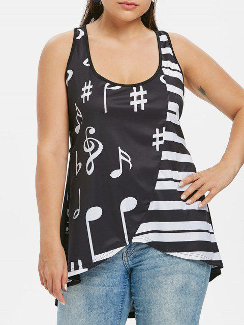 Plus Size Music Note Racerback Tank Top - BLACK 1X