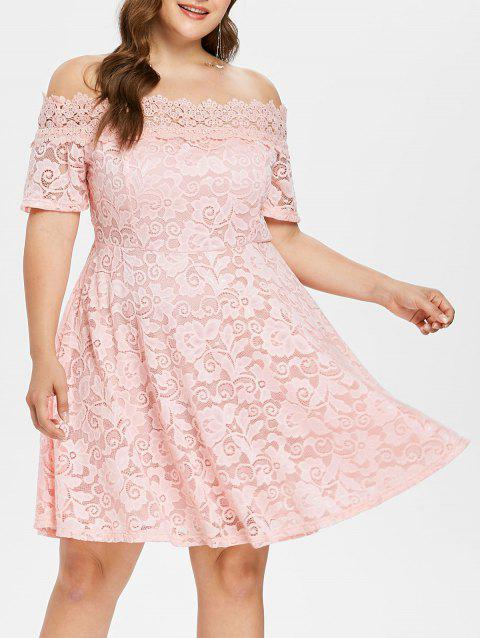 17% OFF] 2019 Plus Size Lace Fit And Flare Dress In LIGHT PINK ...