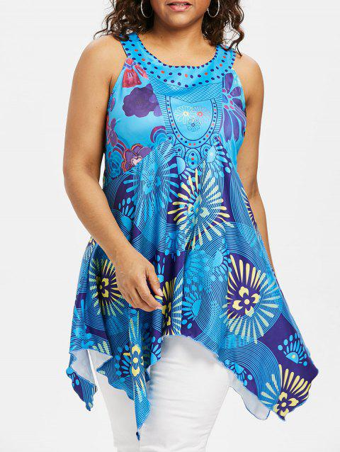 Plus Size Graphic Handkerchief Hem Tank Top - DEEP SKY BLUE 1X