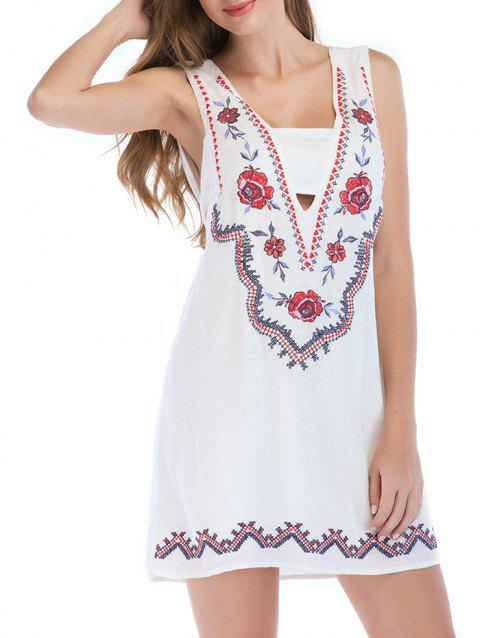 Floral Embroidery Sleeveless Casual Mini Dress