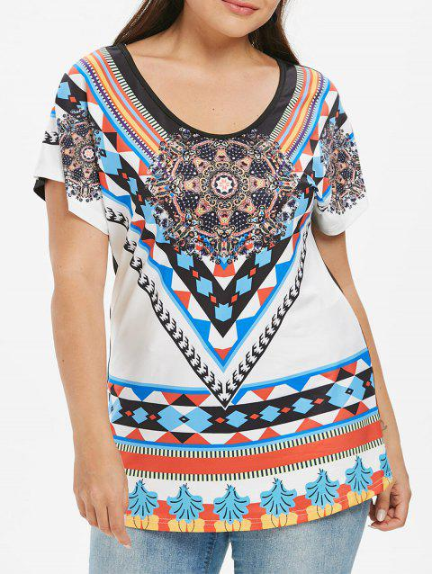 Plus Size Ethnic Print T-shirt - WHITE L