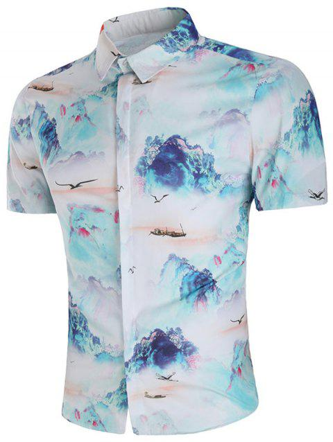 Chinese Painting Short Sleeve Shirt - multicolor XL