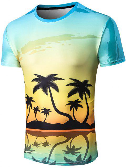 Crew Neck Coconut Palm Reflection Print Tee - multicolor XL