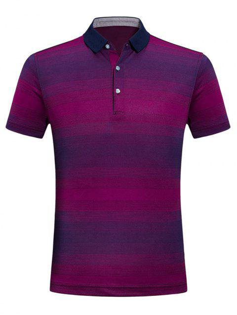 Casual Gradient Ramp Stripe T-shirt - PALE VIOLET RED XS