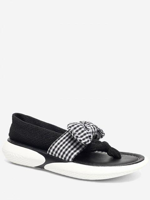Plaid Bow Embellished Casual Outdoor Sandals - BLACK 38