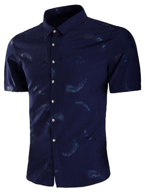 All Over Feather Print Slim Fit Shirt - DENIM DARK BLUE L