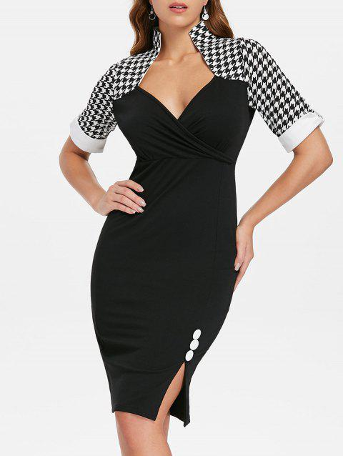 Knee Length Houndstooth Print Bodycon Dress - BLACK 2XL