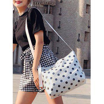 Casual Short Trip Polka Dot Shoulder Bag - WHITE