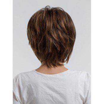Short Oblique Bang Layered Colormix Straight Synthetic Wig - BROWN