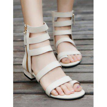 Casual Strappy Side Zipper Gladiator Ankle Sandals - WHITE 37