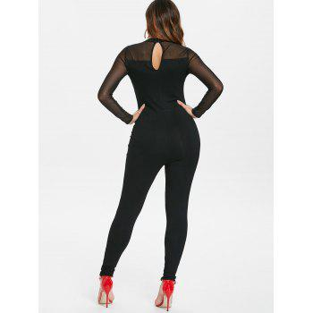 Mesh Trim Criss Cross Jumpsuit - BLACK 2XL